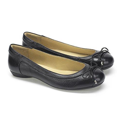 Slip Negro On Piel Moema Ballet detallado Shoe Lazo negro Maya P6wOnqYa