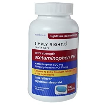 amazon com acetaminophen pm 500 mg 375 rapid release caplets extra