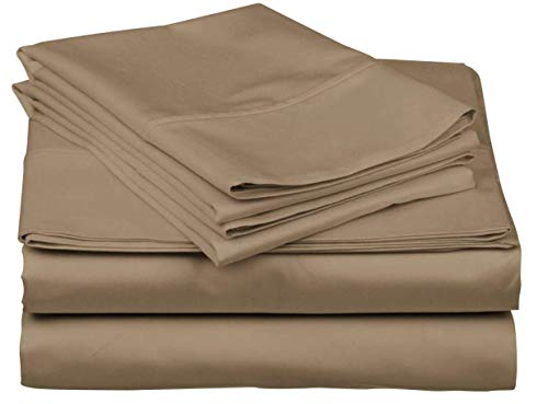 (Blueberry Voyage Genuine Premium Egyptian Cotton 1000 Thread Count Italian Finish Taupe 4-Piece Sheet Set, 15 inches Deep Pocket, Solid, Size King)