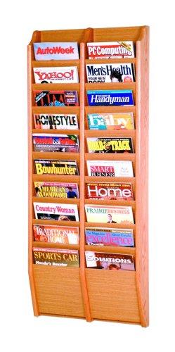- Wooden Mallet 20-Pocket Cascade Magazine Rack, Light Oak