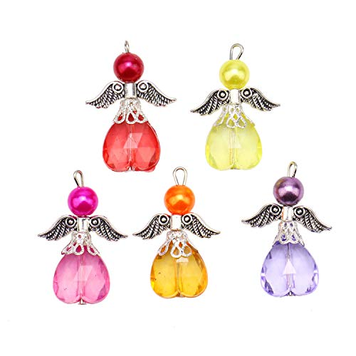 JETEHO 20Pcs Silver Handmade Guardian Angel Fairy Charms Pendants Acrylic Heart Beads Wings for Jewelry Making and Crafting -