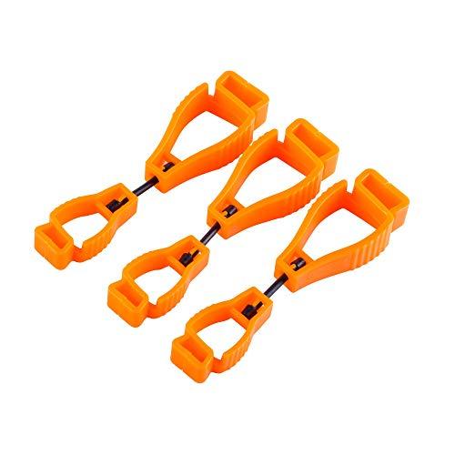 3pcs Glove Grabber Clip Holder work Safety Clip Glove Keeper, Guard Labor Worker Glasses Helmets Hanger Clamp Grabber Catcher (Orange)
