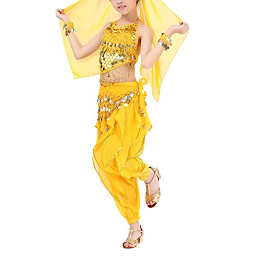 MileMelo Kids Girls Child Belly Dance Costumes India Dance Costoms Halloween Carnival Set Genie Child Costume Halter Top Pants Gold Coins (L, yellow) for $<!--$18.99-->