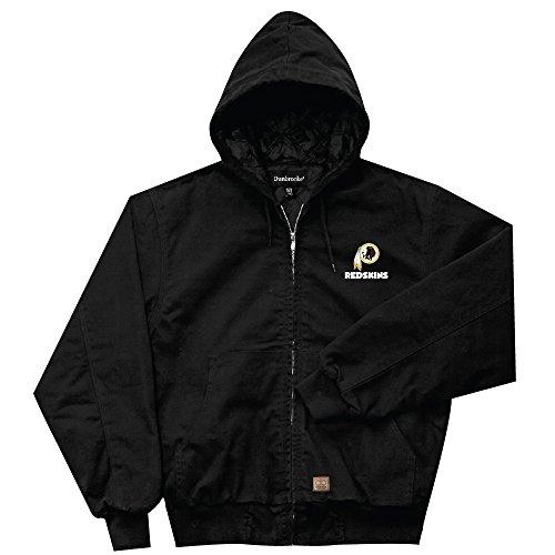 NFL Washington Redskins Cumberland Canvas Quilt Lined Hooded Jacket, Black, X-Large