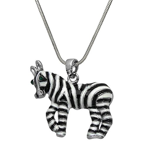 DianaL Boutique Zebra Charm Pendant Necklace Enameled Gift Boxed Horse Fashion Jewelry