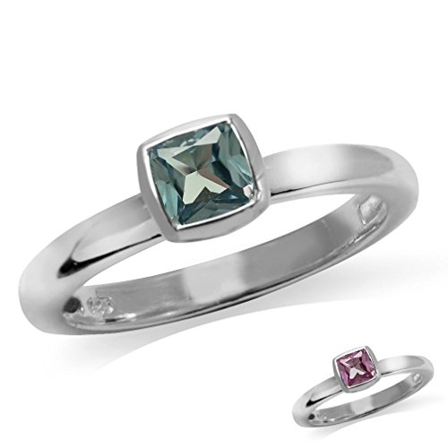Cushion Cut Simulated Color Change Alexandrite 925 Sterling Silver Stack/Stackable Solitaire Ring Size (Simulated Alexandrite Ring)