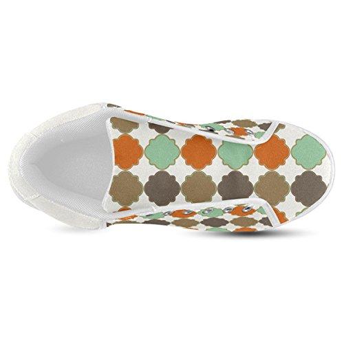 Artsadd Colorful Quatrefoil Trellis Pattern Chukka Canvas Shoes For Men (model003)