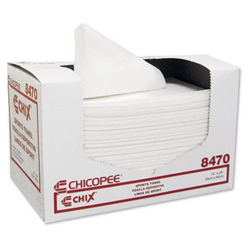 """Chicopee 8470 Sports Towel, 14"""" Width x 24"""" Length, White (6 Pack of 100)"""