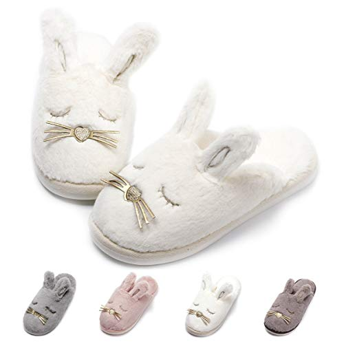 Unicorn Animal Fleece Slippers | Indoor Outdoor Home Slippers | Cozy Plush Memory Foam (5.5-6.5, White Bunny) -