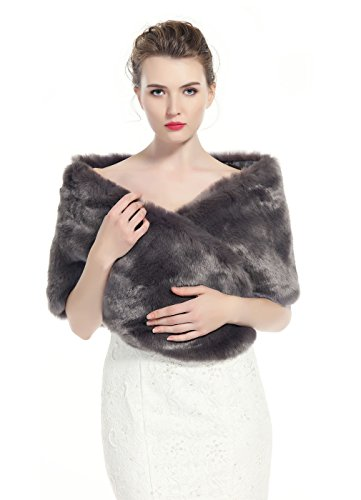 "BEAUTELICATE luxury Bridal Party Evening/Wedding Faux Fur Shawl Wrap Stole-S51(Stone Gray), 63""x14"""