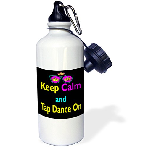 3dRose wb_116834_1 Cmyk Keep Calm Parody Hipster Crown and Sunglasses Keep Calm and Tap Dance on Sports Water Bottle, 21 oz, White