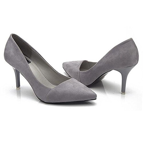 Office High Grey Court Juleya Closed Slip Womens Pointed Shoes On Mid Toe Ladies Court Heel Pumps Shoe a0qHg7xw0S