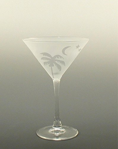 Set of 4 Palm with Moon and Stars Etched Martini Drinking Glasses 7.25 ounces by Diva At Home