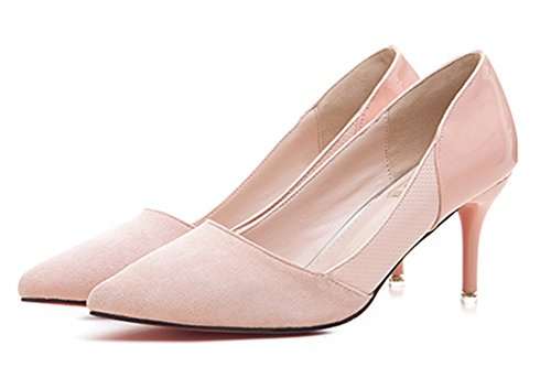 Aisun Damen Elegant Spitz Zehen Low Top Stiletto Slip On Business High Heels Pumps Pink