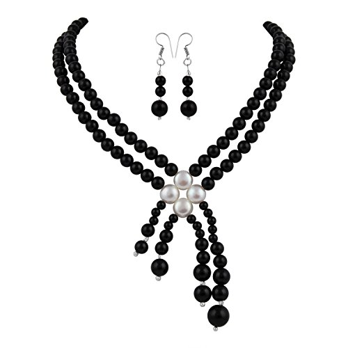 Pearlz Ocean Black Onyx and White Fresh Water Pearl Necklace Set