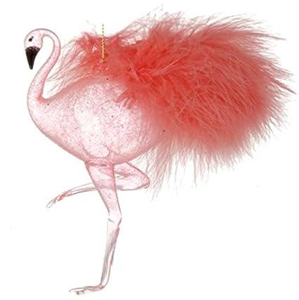 raz imports 7 glass hanging flamingo christmas ornament - Flamingo Christmas