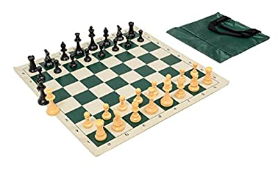 Wholesale Chess Quality Starter Chess Set Combo - Forest Green Chess Board & Bag