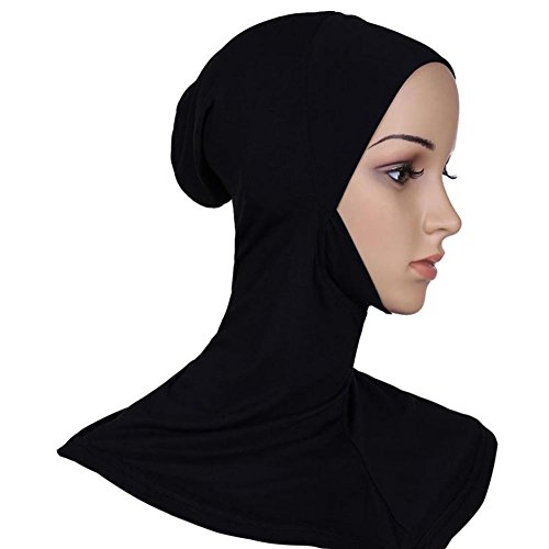 Edal Headwear Full Cover Underscarf Ninja Inner Neck Chest Plain Hat Cap Bonnet Black