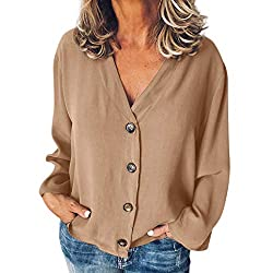 Tangsen Women Casual Solid Long Sleeve V Neck Top Ladies Fashion Buttons Opening Loose Shirt Tops Blouse Brown