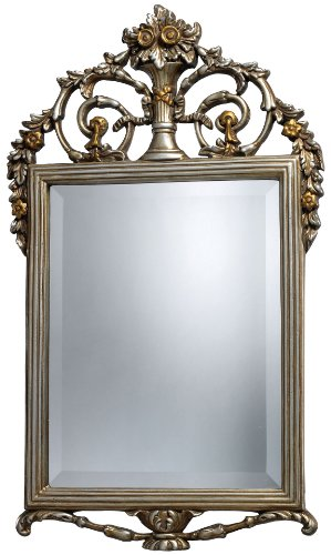 Sterling Silver Rectangular Mirror (Sterling DM1926 Stewart Polyurethane Decorative Mirror, Antique Silver with Gold)