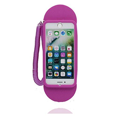 iPhone 7 Coque, TPU Material Flexible Cover Housse Étui pour iPhone 7 (4.7 pouces), 3D pourpre téléphone Dust Slip Scratch Resistant, iPhone 7 Case souple & stylet