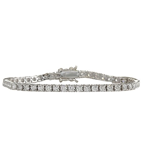 4.8 Carat Natural Diamond (F-G Color, VS1-VS2 Clarity) 18K White Gold Luxury Tennis Bracelet for Women Exclusively Handcrafted in USA
