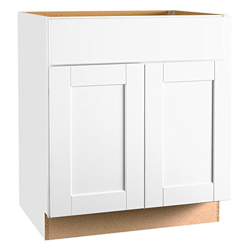 Hampton Bay KVSB30-SSW Shaker Assembled 30 x 34.5 x 21 in. Base Bath Vanity Cabinet in Satin White ()