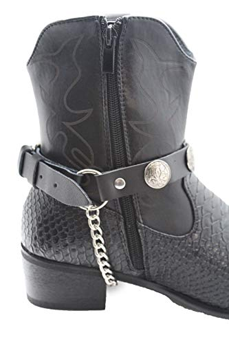 - Trendy Fashion Jewelry TFJ Men Biker Boot Bracelets Black Leather Straps Silver Chains Native Amrican Indian
