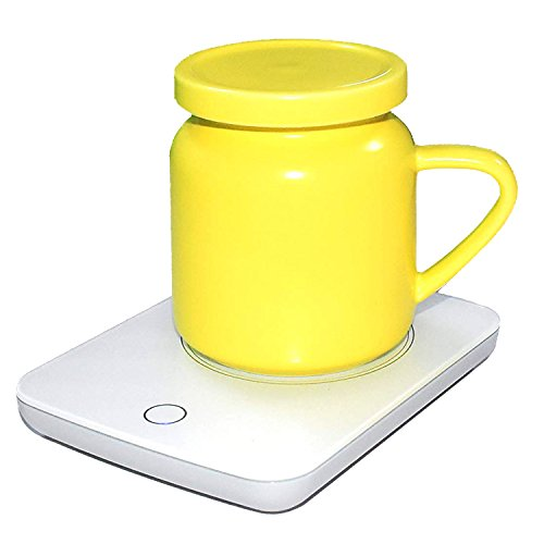 Mug Coffee Warmer (Coffee Mug Warmer For Desk Auto Shut Off Beverage Warmer-(Up to 131F℉/55℃) for Home & Office Use (with Yellow Ceramic Mug))