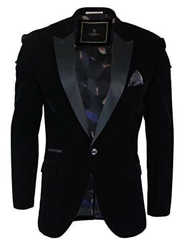 Cavani Mens Soft Velvet Black Navy 1 Button Dinner Jacket Tuxedo Blazer Smart Casual Fit Black 38 (Velvet Jacket Mans Casual)
