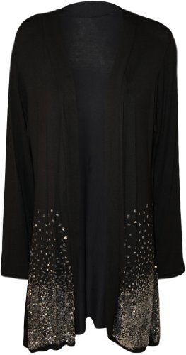 [WearAll Women's Plus Size Sequin Cardigan - Black - US 18-20 (UK 22-24)] (Plus Size Evening Wear)