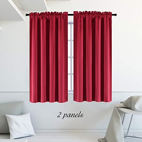 "(DONREN Red Blackout Curtains - Thermal Insulated Room Darkening Curtains for Dining Room((Rod Pocket,42""W x54""L,2 Panels))"