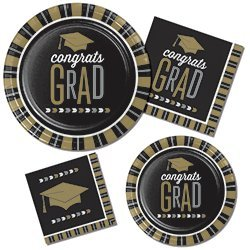 Graduation Party Supply Pack for 8 Guests - Bundle Includes Paper Plates and Napkins in a Glitzy Grad Design of Black Silver and Gold