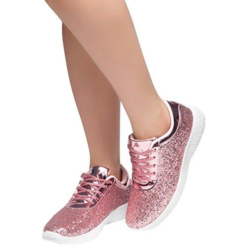 Evigt Kvinna Rund Tå Sparkling Glitter Snörning Gym Tränare Mode Kör Sneaker Rosa