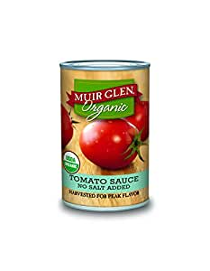 Muir Glen Organic Tomato Sauce, No Salt & No Sugar Added, 15 Ounce Can (Pack of 12)