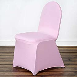 Efavormart 50pcs Pink Stretchy Spandex Fitted Banquet Chair Cover Dinning Event Slipcover for Wedding Party Banquet Catering