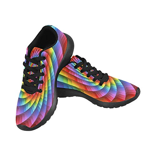 - InterestPrint Running Shoes Lightweight Sport Sneakers Casual Athletic Shoes for Women US10 Psychedelic Pastel Rainbow Spiral Background