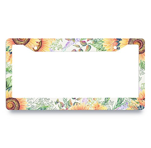 Nuoyizo Sunflower Picture License Plate Frame Flowers License Plate Cover Personalized Auto Tag Holder Funny Car Tag Frame Novelty Car Tag Holder Plastic