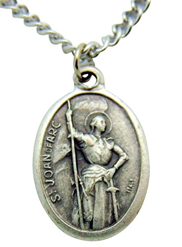 WJH St Joan of Arc Medal 3/4 Inch Metal Saint Pendant with Chain