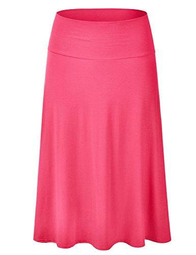 EIMIN Women's Solid Flared Lightweight Elastic Waist Classic Midi Skirt Coral L ()