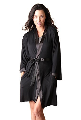 Faceplant Dreams Dreamwear Bamboo Kimono Robe (Small/Medium, Black)