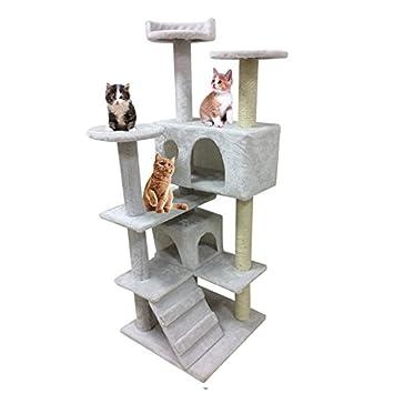 homgrace 130 cm, rascador para gatos Árbol para gatos con caseta escalera Juegos Juguete Regalo para animales domésticos: Amazon.es: Productos para mascotas