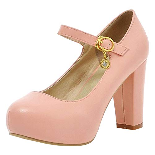 Femmes Rose Jane Bloc Talon Escarpins Taoffen Chaussures Mary adw1qHxg