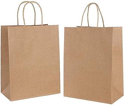 20PCS Bolsas de Papel con Asas,Bolsas de Papel Compra,Bolsas Ppapel Kraft,Bolsas Papel Regalo para la Tienda de Comestibles para Hornear Compras ...