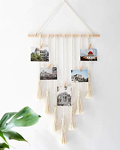 Mkono Hanging Photo Display Macrame Wall Hanging Pictures Organizer Boho Home Decor, with 25 Wood Clips