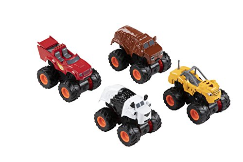 Blue Panda Monster Truck - 4-Pack Pull-Back Car Toys, Mini Die-Cast Vehicles for Kids Race Car Pretend Play, Gifts and Party Favors, 4 Designs