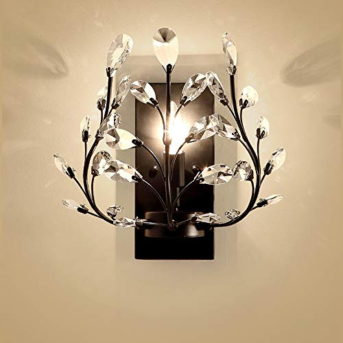 Iron Branch Wrought (American Retro Crystal Wall Lamp - Single Head 1light, Industrial Wrought Iron Branch Wall Sconce - Wall Lamp for Living Room, Bedroom Bedside, Hotel, Corridor Restaurant - E14 Socket)