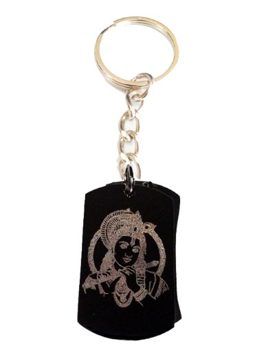 Hindu Lord Krishna Playing Flute Meditation Religion Religious Logo Symbols - Metal Ring Key Chain - Rings Lord The Cd Key Of