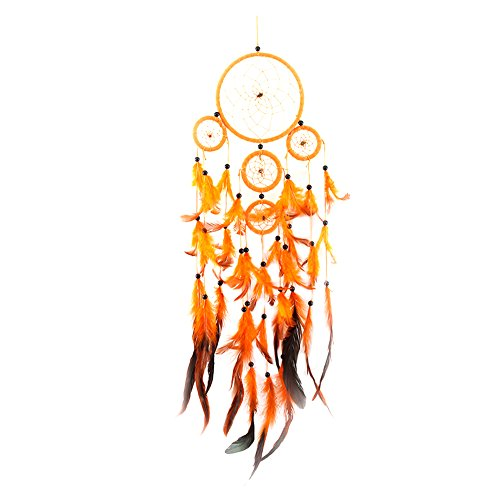Whitelotous Five-rings Orange Dream Catcher with Feather Beads Wall Window Decoration Ornament