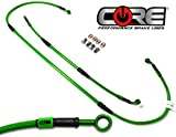 Core Moto - MX Brake Lines Combo Front and Rear Fits Kawasaki KX250F KX450F 2012-2015 - Translucent Green